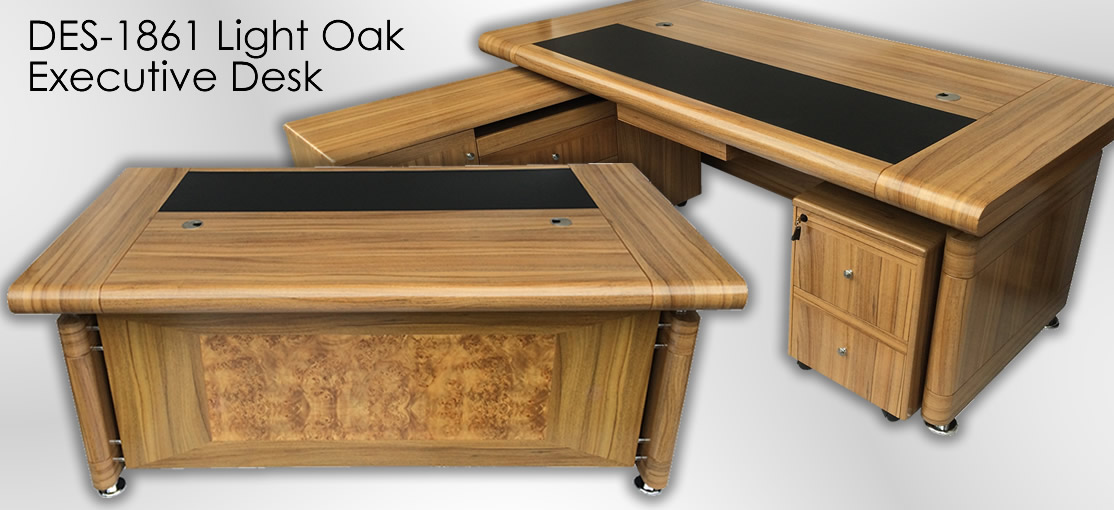 1861 Light Oak Executive Desk