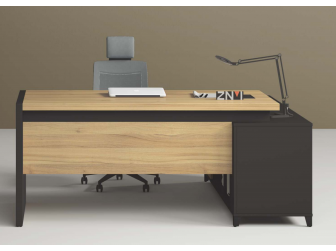 Quality Executive Desk Teak with Black Powder Coated Steel Leg ZDA1816