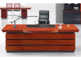 Quality 2.4m Mahogany Executive Office Desk With Leather Detailing DES-0969