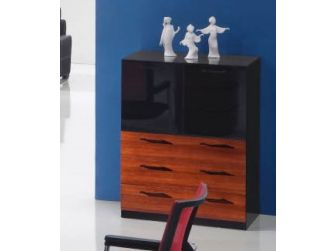 Mahogany finish office credenza with gloss doors and drawers 0969T
