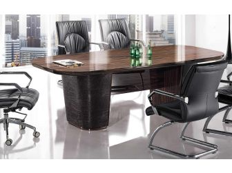 High Gloss Walnut and Brown Leather Panelled Executive Boardroom Table - 0978C