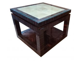 Executive Coffee Table in Gloss Walnut with Maple Panel