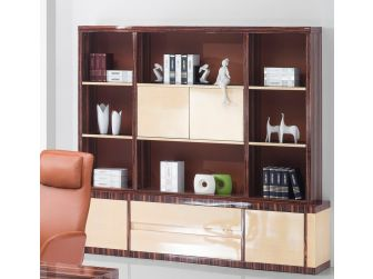 Real Gloss Walnut with Contrasting Maple Panelled Executive Bookcase - 0988A