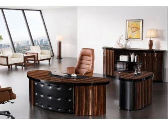 Quality 2.4m Zebrano Walnut Executive Office Desk With Leather Detailing DES-0990