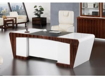 Quality 2.4m Gloss White & Walnut Executive Office Desk With Leather Detailing DES-0996