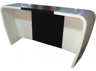 High Gloss White with Black PU Leather Reception Counter - RE1083