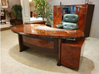 Executive High Gloss Walnut Veneer Office Desk With Dark Brown Leather - DES-2401 -2100mm