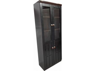 Quality Executive Office Bookcase Gloss Walnut with Black Leather B1236
