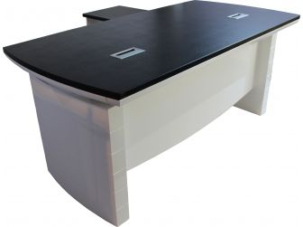 White Gloss Executive Desk with Return and Pedestal T1360 available in 1800mm /2000mm sizes