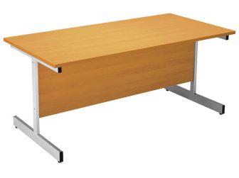 Oak Office Desk Table 1600mm Metal I Frame Leg Design