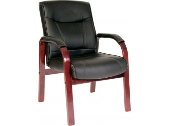 Black Leather Visitor Chair with Wood Choice - KINGSTON-VISITOR