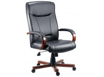 Black Leather Office Chair with Wood Choice - KINGSTON