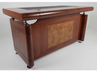 Small Medium Oak Executive Office Desk with Pedestal - 1861