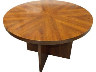 Executive Round Meeting Room Table Medium Oak DES-MET-1861-R-MO