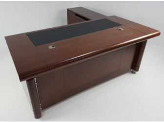 Light Walnut Real Wood Veneer Executive Desk With Roll Top DES-1861