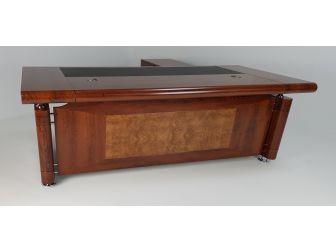 Large Medium Oak Executive Office Desk with Pedestal and Return - 1861