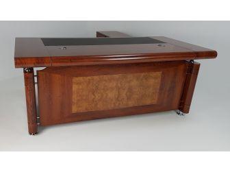 Medium Oak Executive Office Desk with Pedestal and Return - 1861