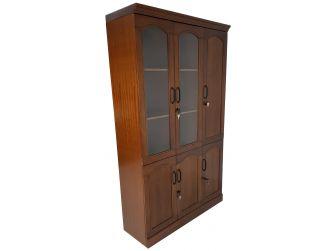 Real Wood Veneer Three Door Executive Bookcase - 1861A-3DR