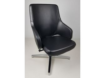 Black Leather Visitor Office Chair with Seat Slide - CHA-1823C