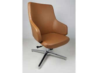 Tan Leather Visitor Office Chair with Seat Slide - CHA-1823C