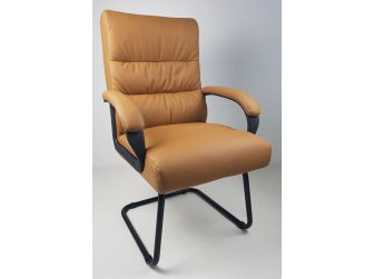 Soft Padded Visitor Office Chair in Beige - CHA-K35-2