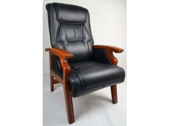 Black Leather Executive Visitor Chair with Built-in Recline - DH1839C