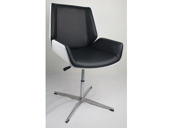 Black Leather Swivel Visitors Chair with White Gloss Shell