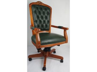 Solid Wood Frame High Back Real Leather Chesterfield Captains Chair HSN-CPT-02 Green