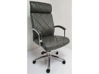 Modern Grey Genuine Hide Leather Executive Office Chair - ZMA-217