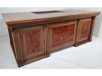 Executive Office Desk in Light Oak with Detailed Panelling - 2489