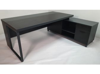 Quality Executive Desk Black with Grey Powder Coated Steel Leg ZG1816