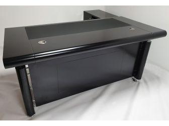 Black Executive Office Desk with Pedestal and Return - 1861-BLK