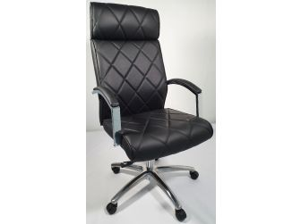 Modern Black Genuine Hide Leather Executive Office Chair - ZMA-217