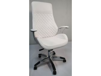 Contemporary White Leather Reclining Executive Office - YS-1107A