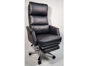 Black Leather Executive Office Chair with Built in Footrest - HB-256A