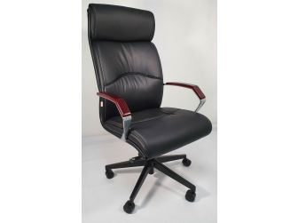 Slim Black Leather Office with Wood Arms - YS818