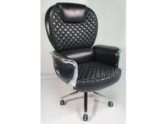 Large Genuine Hide Black Leather Executive Office Chair - JD1408A