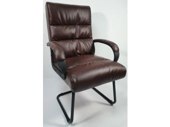 Soft Padded Visitor Office Chair in Brown - CHA-K35-2
