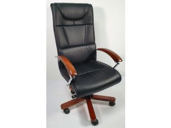Stylish Black Leather Executive Office Chair with Wood Arms - YS397A