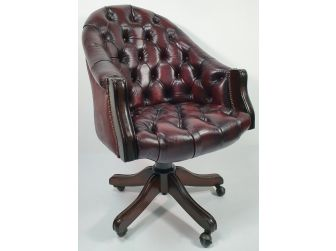 Genuine Burgundy Leather Chesterfield Office Chair - K204