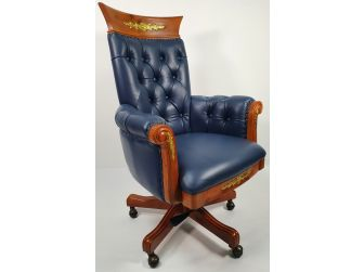 Traditional Blue Leather Office Chair with Wood Detailing - K263