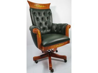 Traditional Green Leather Office Chair with Wood Detailing - K263