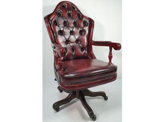 Regency Chesterfield High Back Burgundy Leather Office Chair - K201