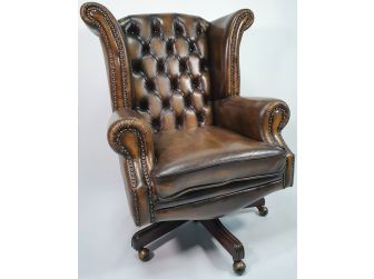 Traditional Chairman Olive Leather Executive Office Chair - X-01-OLIVE