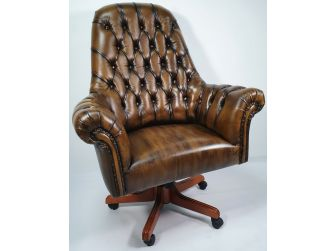 Traditional Genuine Olive Leather Chesterfield Office Chair - K208