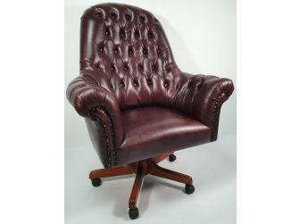 Traditional Genuine Brown Leather Chesterfield Office Chair - K208
