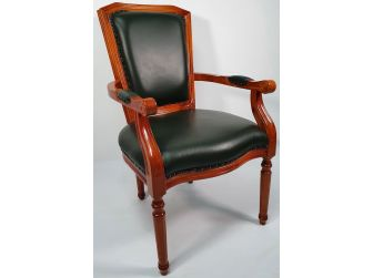 Green Leather and Yew Wood Executive Visitor Chair - T206