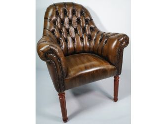Traditional Genuine Olive Leather Chesterfield Visitor Chair - T208S