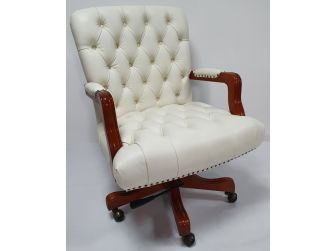 Traditional White Leather Chesterfield Executive Office Chair - K261