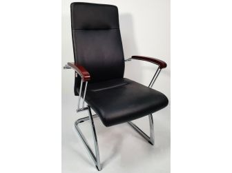 Black Leather Visitor Chair with Wood Arms - JL565C